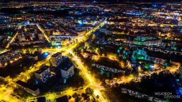 Wrocław nocą - zdjęcia z powietrza.