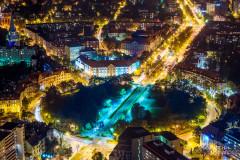 Wrocław nocą - fotografia z drona.