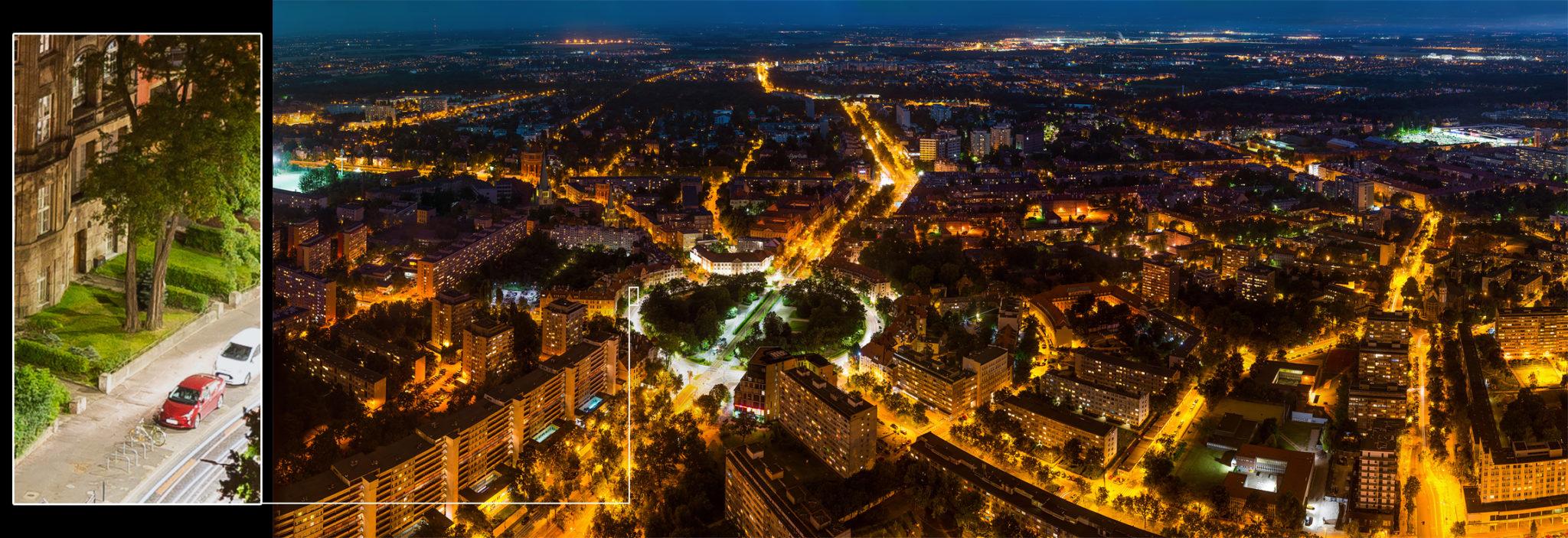 Gigapanorama - widok ze skytower nocą